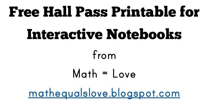 Math \u003d Love Free Interactive Notebook Hall Pass
