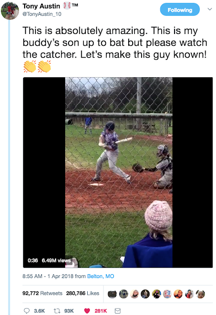Tweet from @TonyAustin_10 about his friend's son. One armed catcher Luke Terry. 1 April 2018