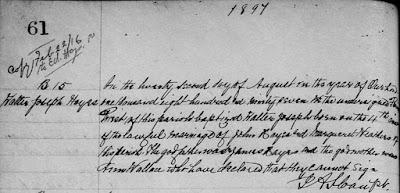 Saint Patrick Roman Catholic Church (Fallowfield, Ontario, Canada), p. 61, B. 15,  baptism of Walter Joseph Hayes, 22 Aug 1897; FHL microfilm 1,302,152, item 5.