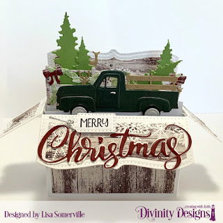 Stamp/Die Duos: Loads of Love (sentiment) Custom Dies: Surprise Box Wide, Pickup Truck, Circles, Farm Fence, Trees & Deer, Merry Christmas, Christmas Door Greenery, Treat Tags, Curvy Slopes, Paper Collections: Rustic Christmas, Christmas Collection 2018