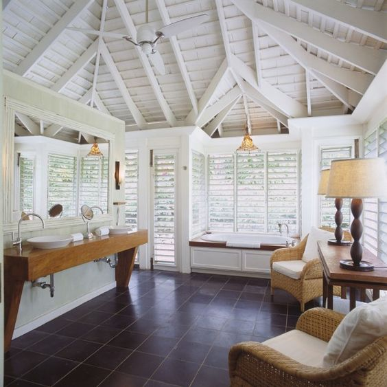 Beautiful room with white plantation shutters
