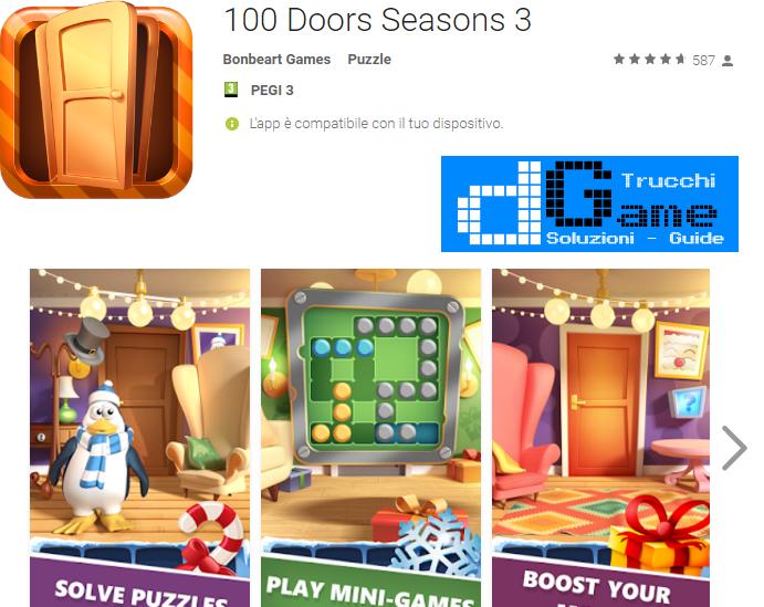 Soluzioni 100 Doors Seasons 3 livello 41 42 43 44 45 46 47 48 49 50   Trucchi e Walkthrough level