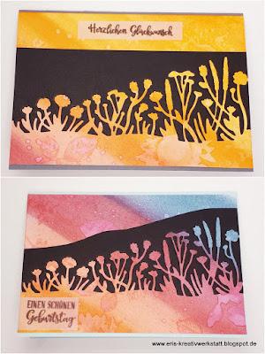 Sommerliche Geburtstagskarten mit gewalztem und wassergestempeltem Hintergrund Stampin' Up! www.eris-kreativwerkstatt.blogspot.de