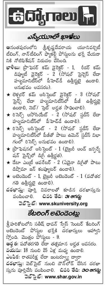 EENADU JOBS AND ENTRANCE NOTIFICATIONS FROM EENADU PRATHIBA 1