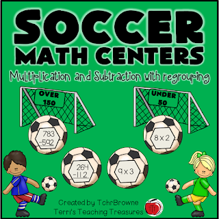 Soccer themed multiplication and subtraction math center free Terri's Teaching Treasures