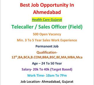 12th and Any Graduates Jobs 500 Vacancy Open in Health Care Company Ahmedabad, Gujarat Locations Apply Now