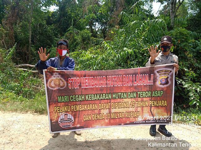 Komitmen Cegah Karhutla, Personel Polsek Karau Kuala Gencarkan Sosialisasi Kepada Masyarakat