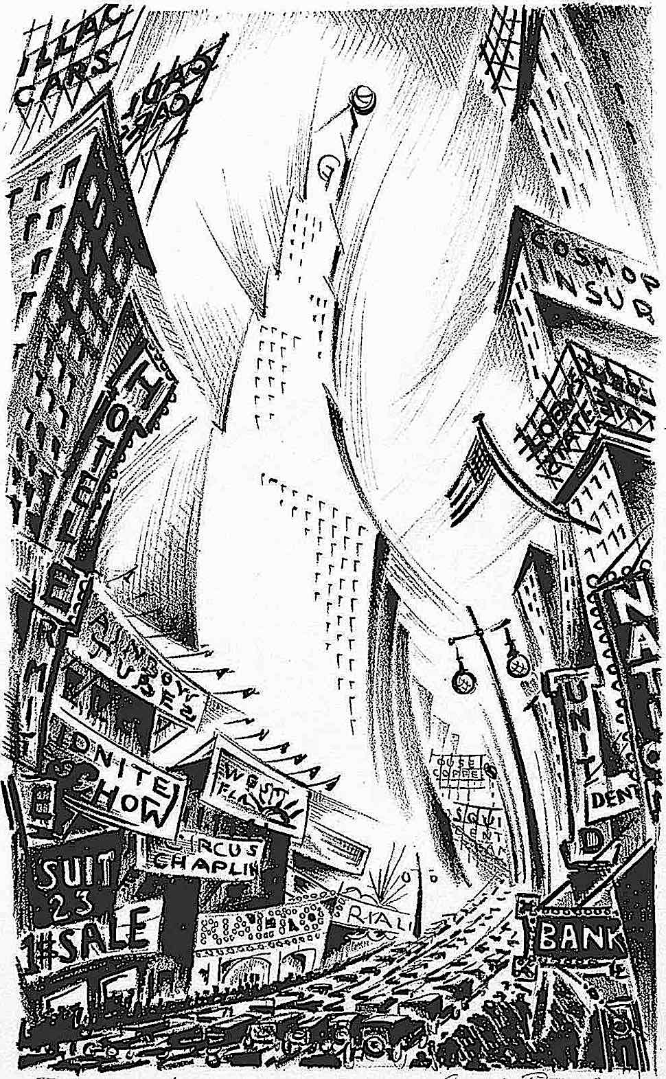 Arnold Ronnebeck art, a big city in motion