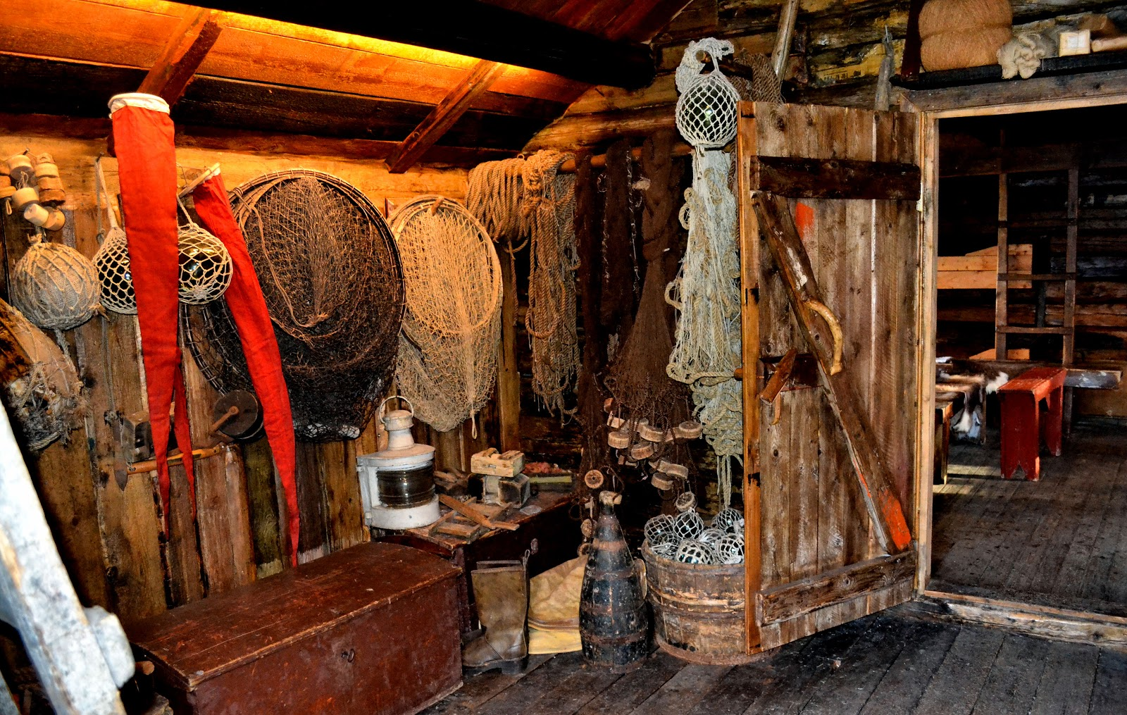 More fishing equipment stored in the first room of the rorbu cabin.