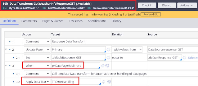 exception handling in data transform in pega