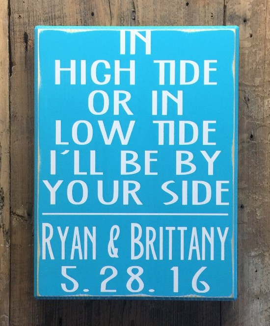 Low Tide High Tide Beach Theme Marriage Wedding Commitment Vow Sign