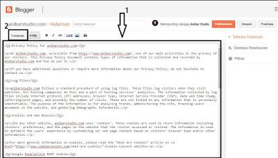 Cara mudah dan cepat membuat Privasi Policy untuk blog
