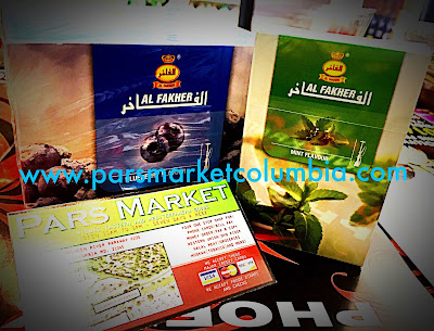 Blueberry Flavor 250g and Mint Flavor 50g box of Al Fakher at Pars Market Columbia Howard County Maryland 21045