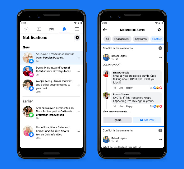 Les alertes de modération de conflit sont alimentées par l'apprentissage automatique, explique Facebook.