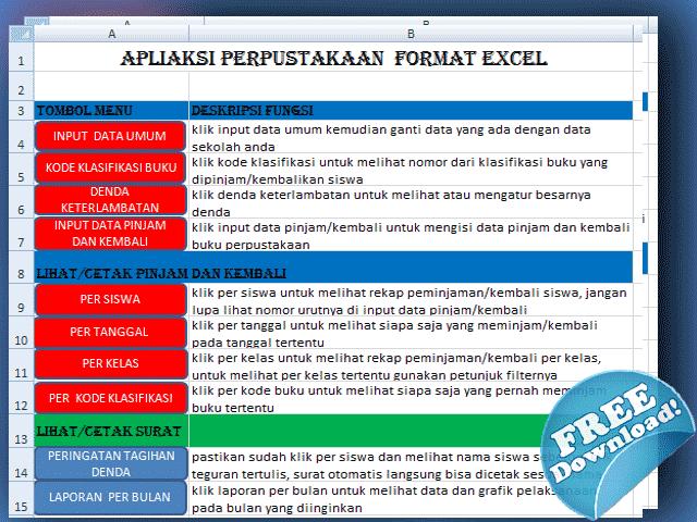 Aplikasi Administrasi Perpustakaan Sekolah Format Excel