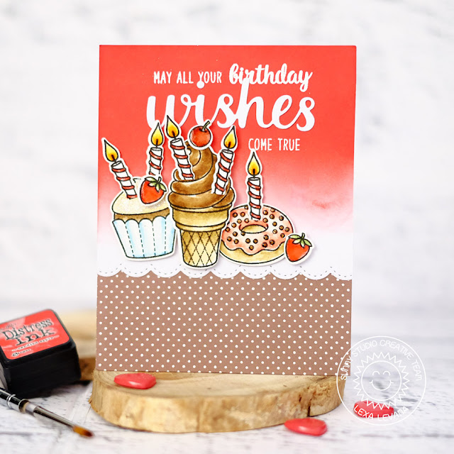 Sunny Studio Stamps: Heartfelt Wishes and Sweet Shoppe Treat Filled Birthday Card by Lexa Levana