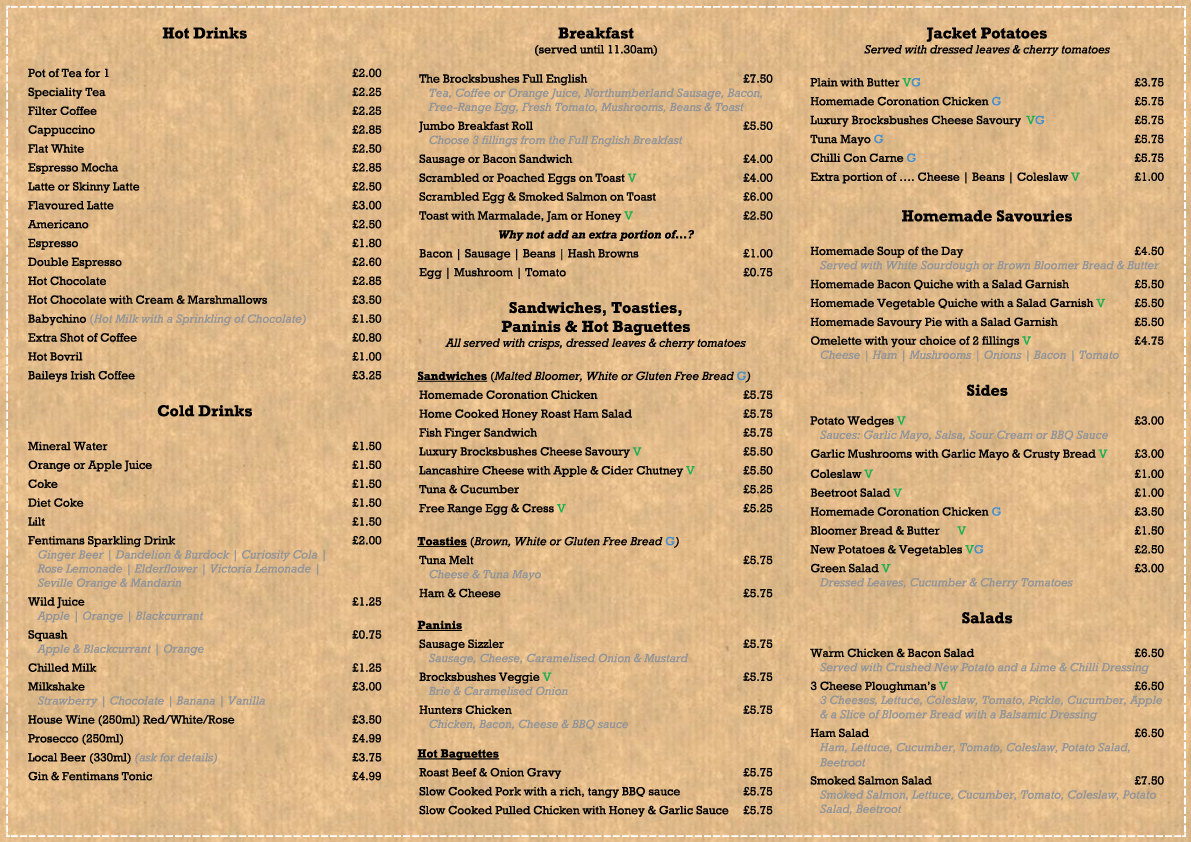 A Guide to Strawberry Picking at Brocksbushes in Northumberland  - tea room menu