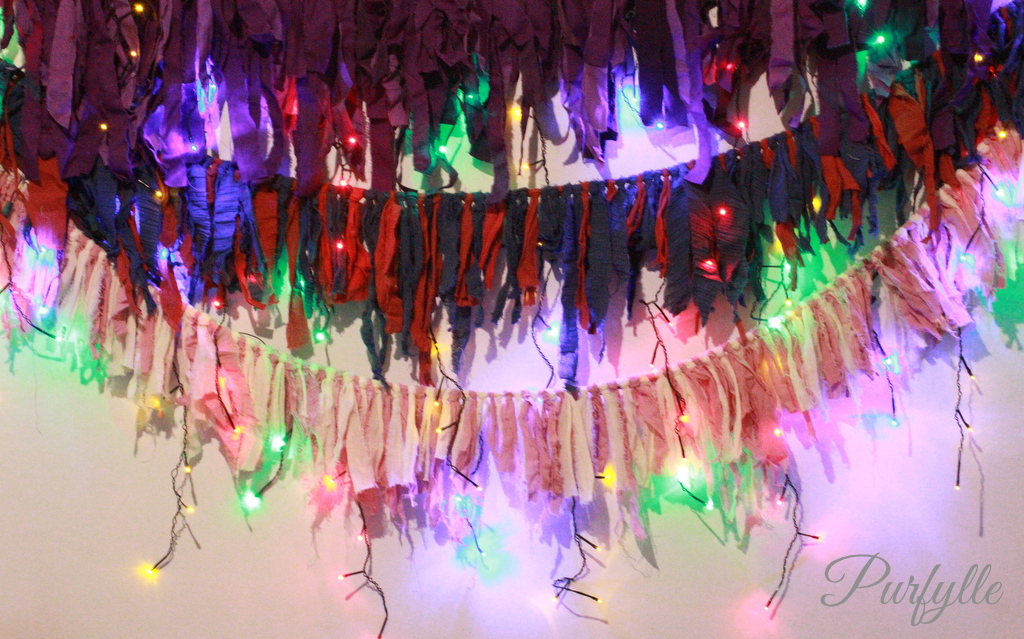 fairy lights with shabby garland