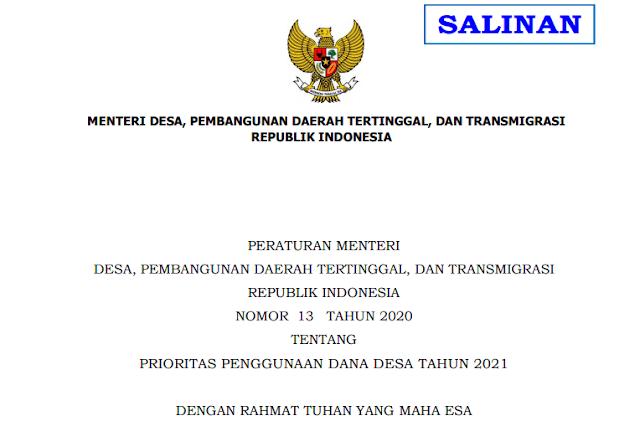 PERMENDES TENTANG PRIORITAS DANA DESA TAHUN 2021
