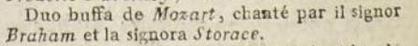 Duo buffa de Mozart chanté par John Braham et Ann Selina Storace à Paris en 1797