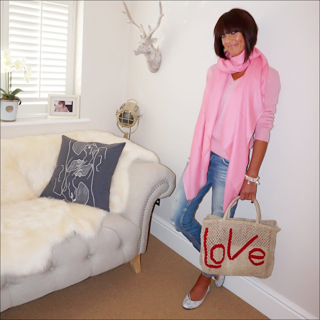 My midlife fashion, marks and spencer v neck cashmere jumper, pashmina, olia jewellery, the jacksons london jute bag, zara distressed cigarette jeans, french sole india snake print ballet pumps