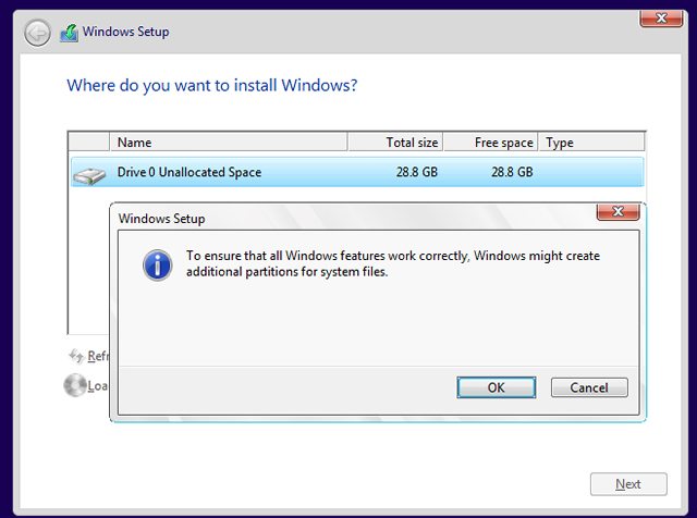 windows partition done - clean install windows 10