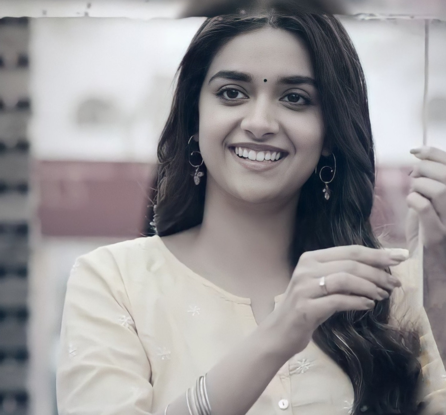 Keerthy Suresh Awesome Lovely Smile from RangDe 5