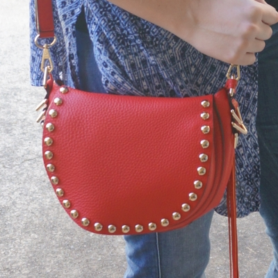 AwayFromTheBlue | red Rebecca Minkoff saddle bag navy outfit