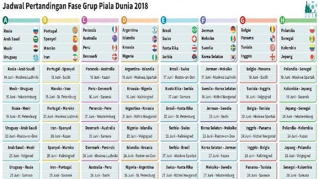 Jadwal Piala Dunia 2018 di Rusia