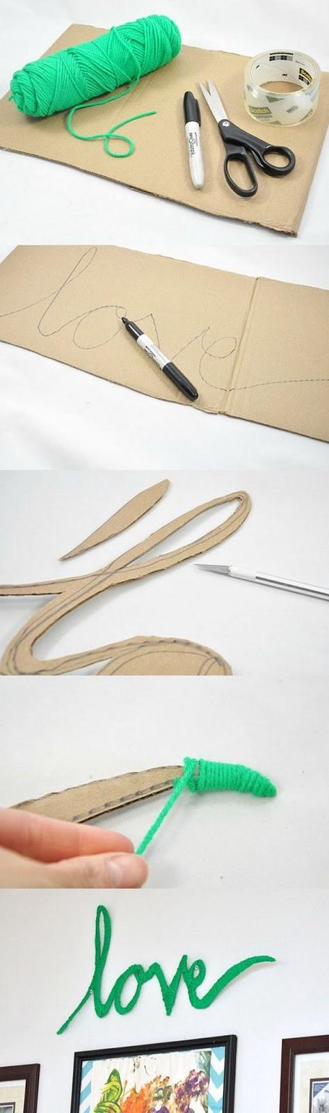 Letras enroladas em fio de lã que irão para o descarte podem adicionar um charme delicado à decoração! Super fácil e rápido de fazer!