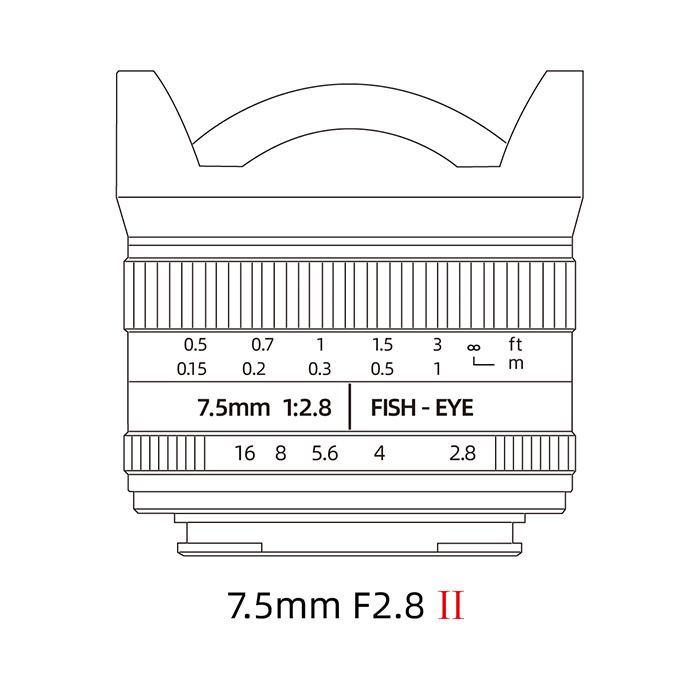 Схематичное изображение объектива 7Artisans 7.5mm f/2.8 II