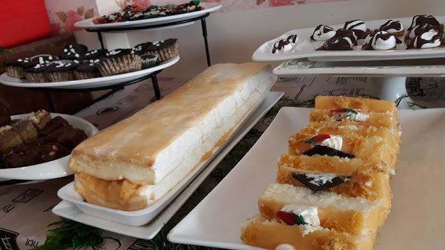 Brazo de Mercedes, special banana brownies, chocolate cupcakes.