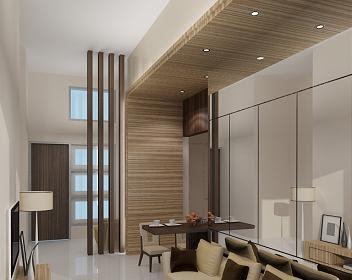 Desain interior ruang tengah dan area makan