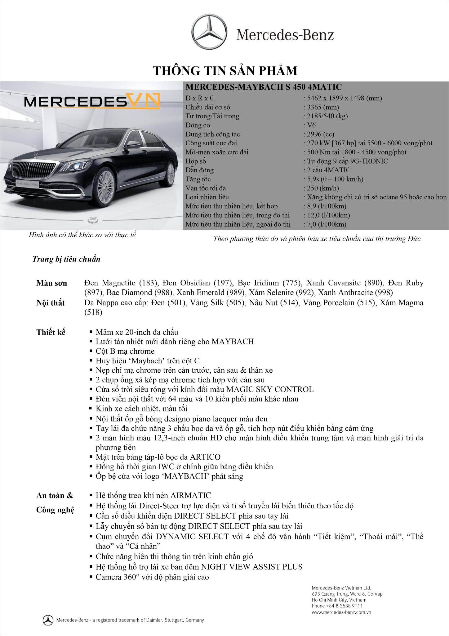 Bảng thông số kỹ thuật Mercedes Maybach S450 4MATIC 2021