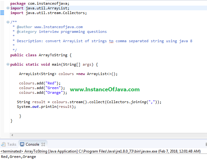 How to convert list to comma separated string using java 8