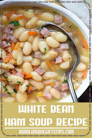White Bean and Ham Soup Recipe - This white bean and ham soup recipe is a great way to use up that leftover ham! You'll start with dried beans, onions, celery, and carrots. The beans and ham cook until nice and tender. #whitebeanandhamsouprecipe #soup