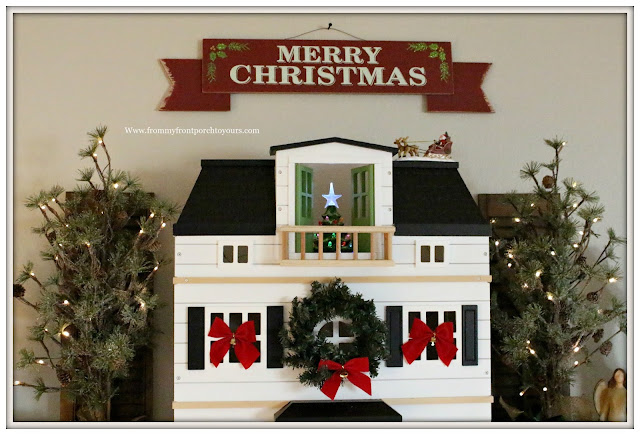 French Country- Farmhouse-Hearth & Hand-Doll House-Balsam Hill Trees- Christmas Mantel-From My Front Porch To Yours