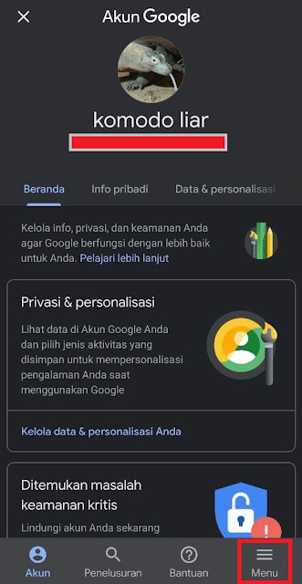 Menu Aplikasi Google