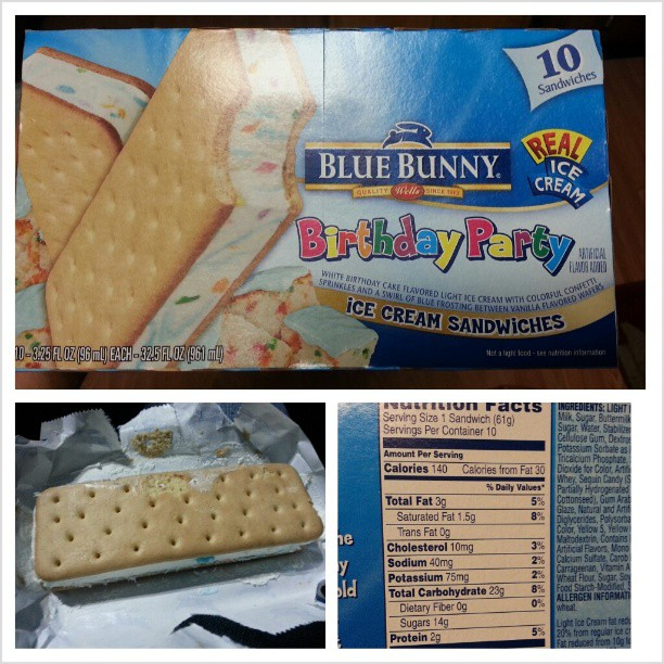 I Spotted And Picked Up A Box Of Blue Bunny Birthday Party Ice Cream Sandwiches While At The Grocery Store Last Weekend This Came About After Searching
