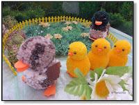 Pompon-Tiere Entenfamilie