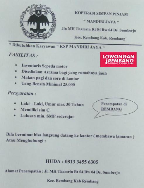 Lowongan Kerja Karyawan KSP Mandiri Jaya Penempatan Sumberjo Rembang