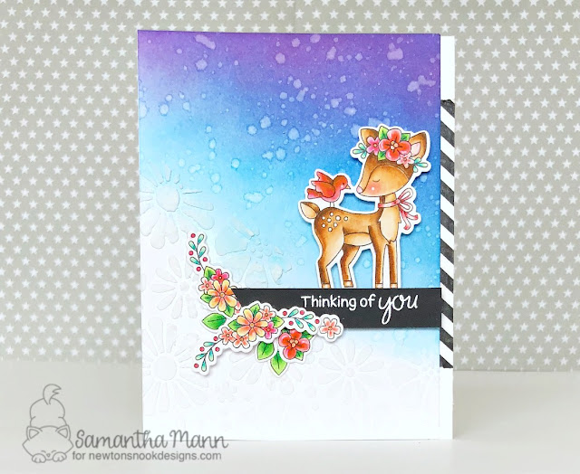 Thinking of You Deer Card by Samantha Mann, Newton's Nook Designs, Distress Ink, blending, handmade card, spring, #newtonsnook, #stamps
