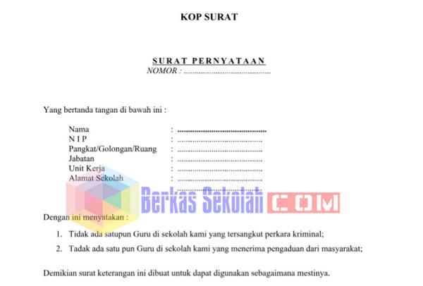 Surat Pernyataan Tidak Terlibat Tindak Pidana untuk PTK di Sekolah
