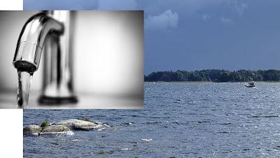 Montage med dricksvattenkran och bild på Vänern.