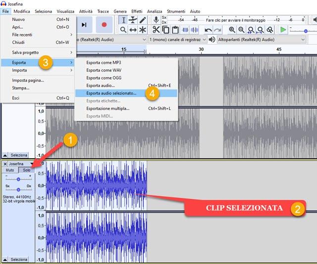 esportazione audio selezionato con audacity