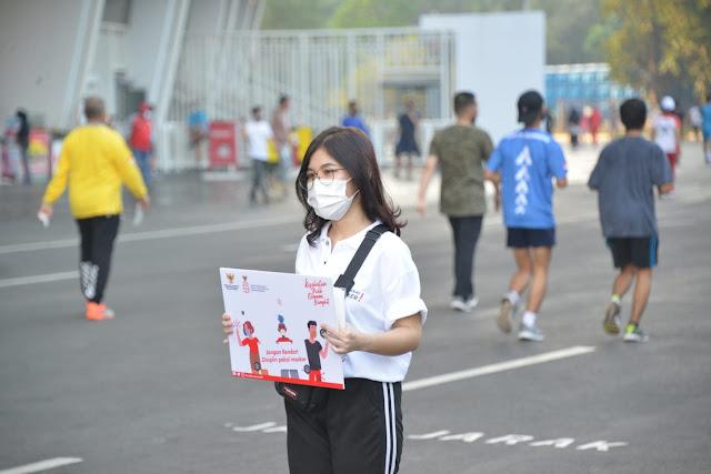Cegah Penularan Corona, Pemerintah Gelar Kampanye Gunakan Masker di Kawasan Stadion Gelora Bung Karno