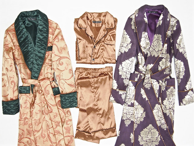Men's luxury silk dressing gown paisley quilted long warm luxury smoking jacket robe