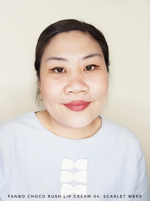Review Fanbo Choco Rush Lip Cream 04. Scarlet Week