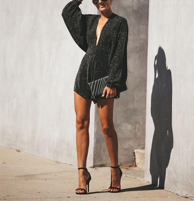 Backless V-neck Sexy Flash Sequins Bat Long Sleeve Jumpsuit