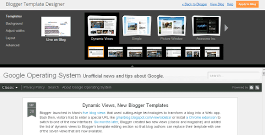 Dynamic Views, New Blogger Templates